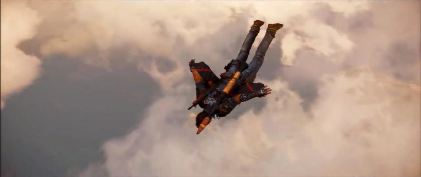 rico vole avec des ailes et un lance-roquette