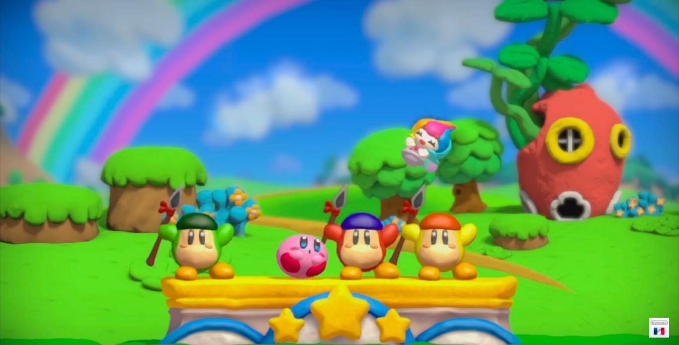 kirby arc en ciel dreamland podium sur Wii U